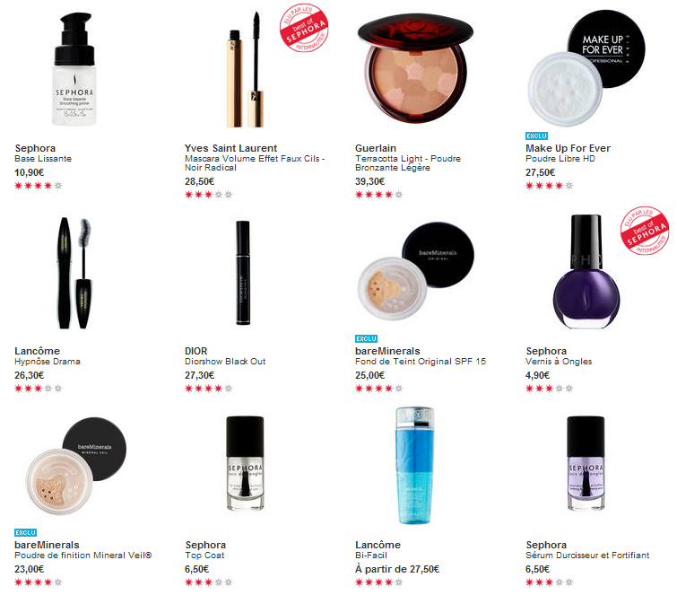 Maquillage Sephora top ventes